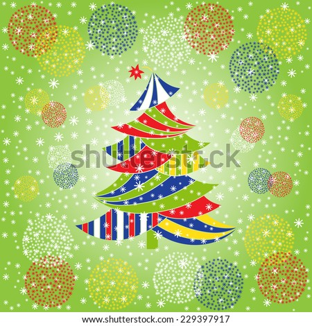 Christmas colorful tree. Christmas and New Year background. Holiday card template. Winter background. - stock vector