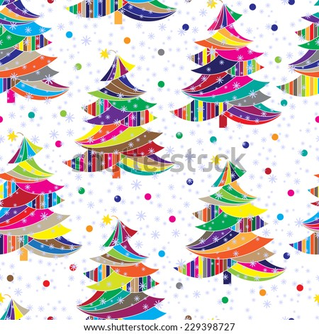 Christmas colorful tree. Christmas and New Year background. Winter background. Holiday seamless pattern. - stock vector
