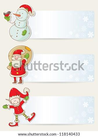 Christmas congratulation stickers with santa, elf and snowman - stock vector