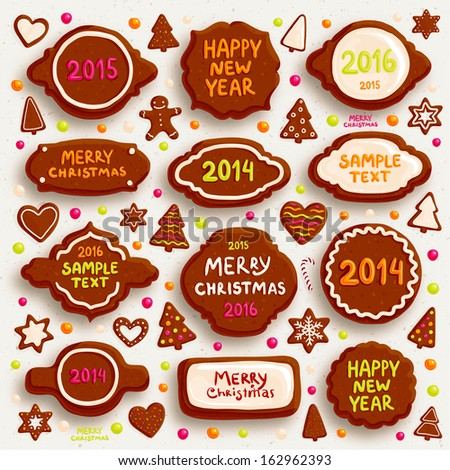 Christmas Cookies Set - Frames, Borders, Gingerbread man, Xmas Tree, Star, Heart. 2014, 2015, 2016 years lettering. All for Xmas Cards Design. - stock vector