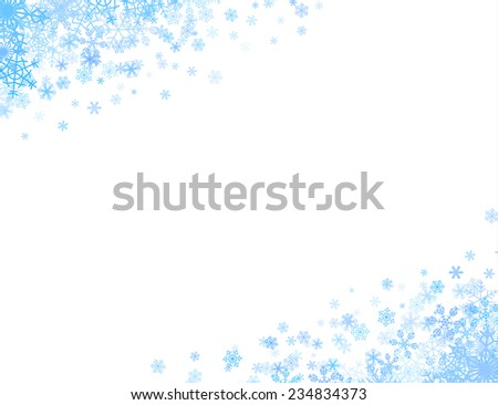 Christmas corners with different small snowflakes on top and bottom - stock vector