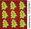 Christmas coupon stickers in the form of New Year tree - stock vector