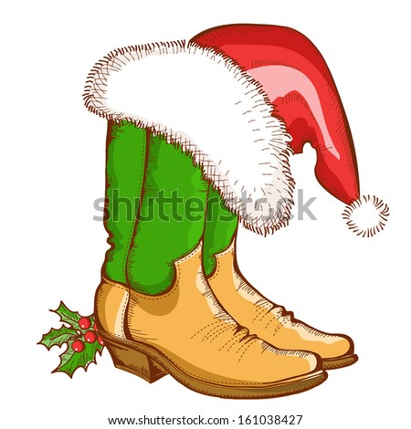Christmas Cowboy boots and Santa hat.Vector western illustration isolated on white - stock vector