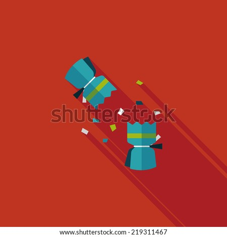 Christmas cracker flat icon with long shadow,eps10 - stock vector