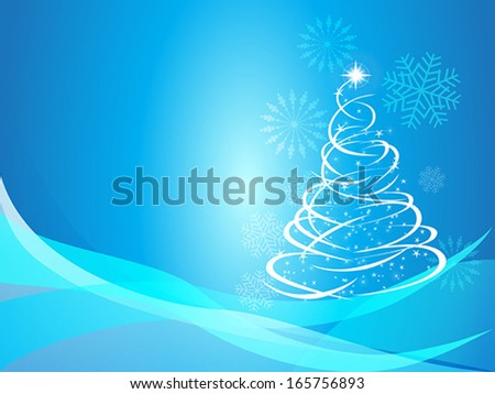 Christmas curve tree background - stock vector