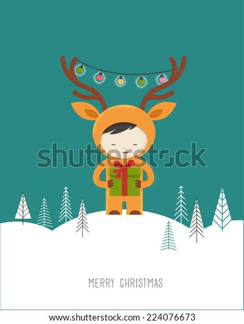 Christmas cute design greeting card background with girl deer - stock vector