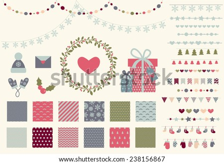 Christmas decor set. 15 garland lights vector brushes, decor elements and 12 seamless winter patterns. Perfect for christmas greeing card and party invitation. Isolated. Vector eps 10 - stock vector