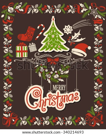 Christmas Decor Set: Ornamental Garland Frame, Sign, Header with Christmas Tree and Holiday Accessories - stock vector