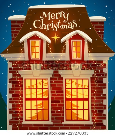 Christmas decorated house. Greeting card \ poster \ banner. Vector illustration. - stock vector