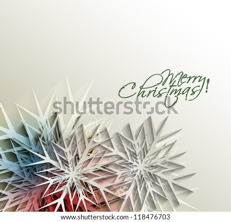 Christmas decoration background with snowflakes. Vector illustration. Eps 10. - stock vector
