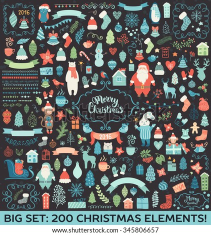 Christmas decoration big collection. Vector illustration, isolated decorative elements. Merry Christmas lettering. - stock vector