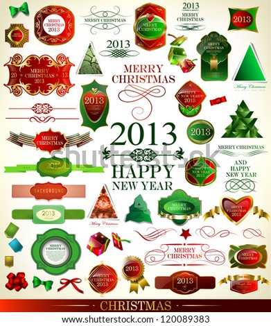 Christmas decoration collection/Christmas tree, calligraphic and typographic design elements, frames, gold labels. ribbons, stickers - stock vector