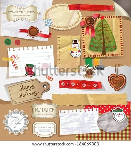 Christmas decoration collection for scrapbook style.  - stock vector