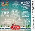 Christmas decoration collection of calligraphic and typographic design with labels, symbols and icons elements - stock vector