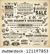 Christmas decoration collection | Set of calligraphic and typographic elements, frames, vintage labels. Ribbons, bows, birds, baubles on a fur-tree branches with holly berries - all for Xmas design. - stock vector