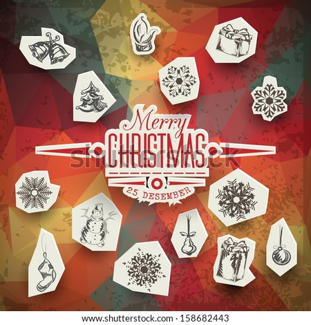 Christmas decoration collection | Set of calligraphic and typographic elements, frames, vintage labels. Ribbons, stickers, Santa and snowman, birds on a fur-tree branches with baubles. All for design. - stock vector