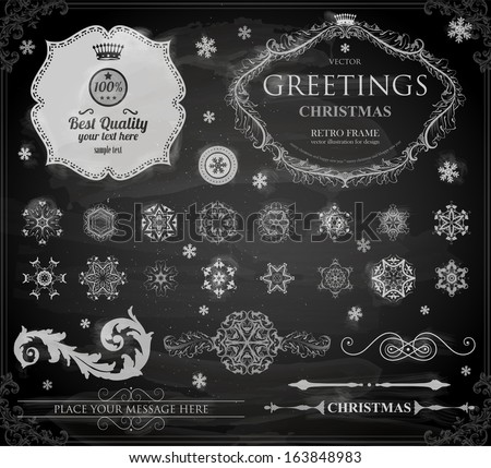 Christmas decoration collection | Set of calligraphic and typographic elements, frames, vintage labels. Ribbons, stickers, borders, balls, snowflakes. Chalkboard decorations design. Chalk texture. - stock vector