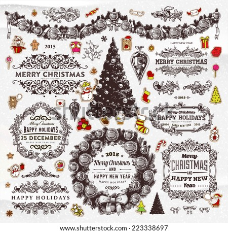 Christmas Decoration Collection | Set of Calligraphic and Typographic Elements, Frames, Vintage Labels. Ribbons, Stickers, Garland, Gifts, Wreath, Santa Claus, Xmas Tree and Balls. Holiday Design  - stock vector