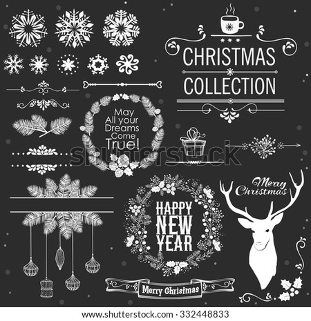 Christmas decoration collection. Set of Christmas calligraphic and typographic elements - stock vector