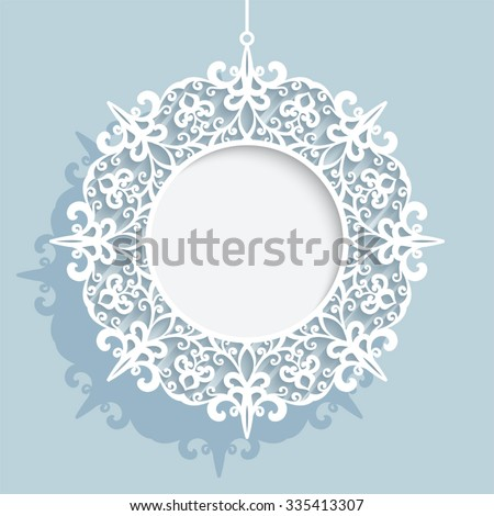 Christmas decoration, cutout paper swirls in shape of Christmas ball, vector circle frame template, eps10 - stock vector