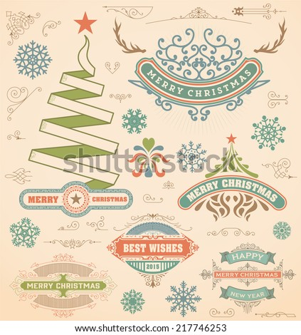 Christmas decoration design elements. Merry Christmas and happy holidays wishes. Vintage labels, frames, ornaments and ribbons, set. - stock vector