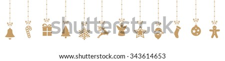 christmas decoration elements hanging isolated background - stock vector