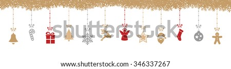 christmas decoration elements hanging snowflakes isolated background - stock vector