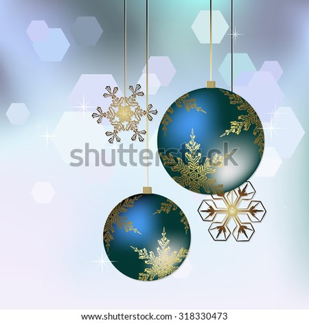 Christmas decoration in blue - Vector illustration - stock vector