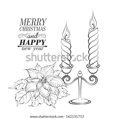 Christmas decoration isolated over white. Vector illustration. - stock vector