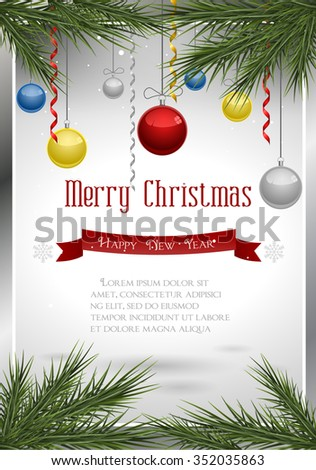 Christmas decoration on  background - stock vector