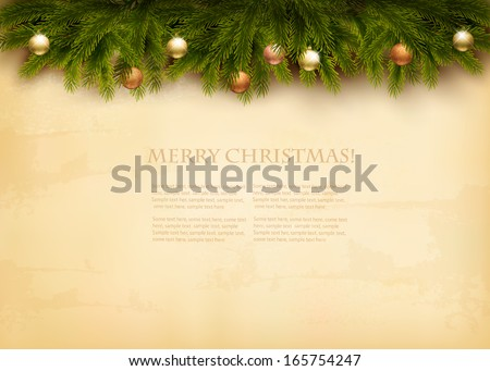 Christmas decoration on old paper background. Vector. - stock vector
