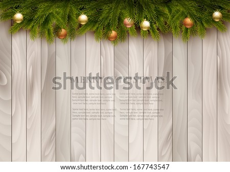 Christmas decoration on wooden background. Vector illustration. - stock vector