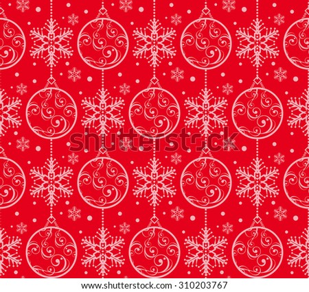 Christmas decoration, Pattern wallpaper, Holiday background, Seamless pattern, vector, red - stock vector