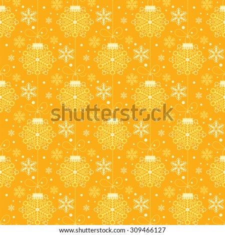 Christmas decoration, Pattern wallpaper, Holiday background, Seamless pattern, Yellow color, vector - stock vector