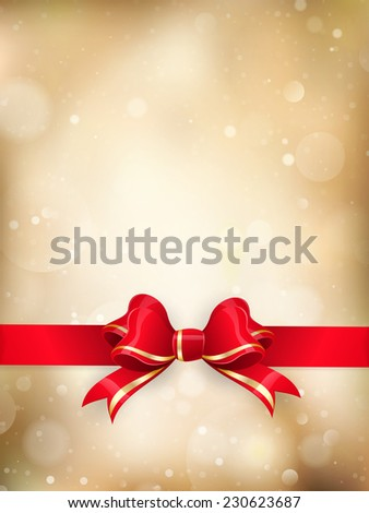 Christmas decoration - Red ribbon bow with bokeh. EPS 10 vector file included - stock vector