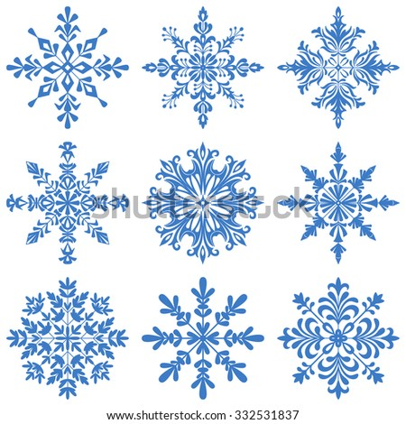 Christmas Decoration, Set Blue Silhouette Snowflakes on White Background. Vector - stock vector