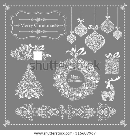 Christmas decoration set - lots of calligraphic elements, bits and pieces to embellish your holiday layouts. Collection of Christmas design elements isolated on Grey background. Vector illustration - stock vector