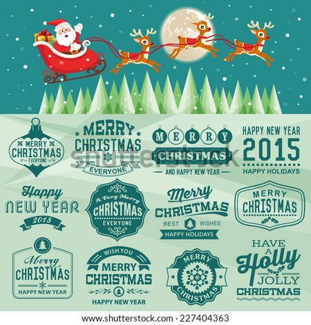 Christmas decoration set of calligraphic and typographic design with labels, icons elements - stock vector