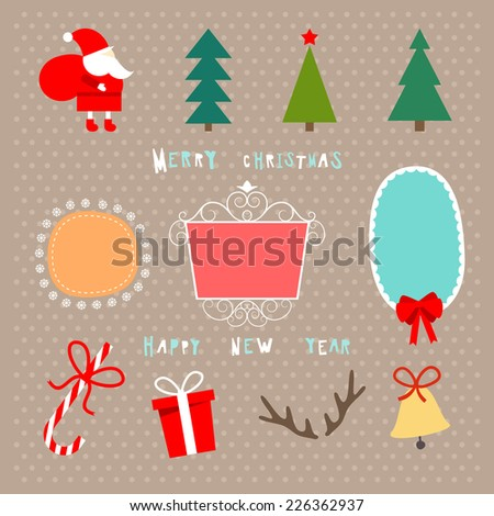 Christmas decoration set of design elements, labels, symbols,  objects and holidays wishes - stock vector