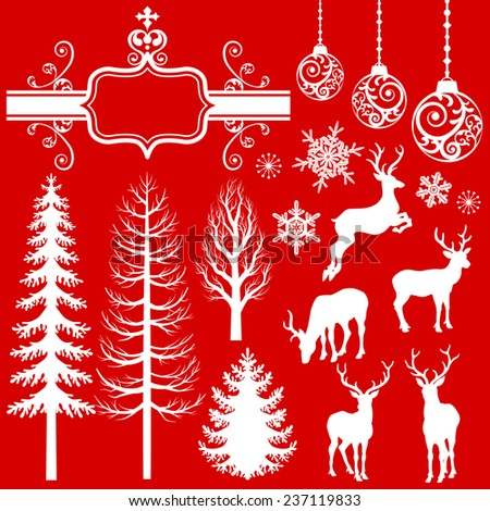 Christmas  Decoration silhouettes - stock vector