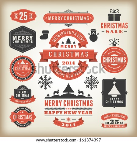 Christmas decoration vector design elements collection. Typographic elements, vintage labels, frames, ribbons, greeting card, happy new year message set. Flourishes calligraphic.  - stock vector