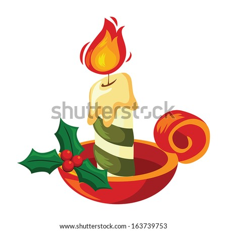 Christmas Decoration With Candle  - stock vector