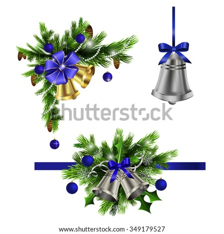 Christmas decoration  with evergreen trees bells   and  with balls blue - stock vector
