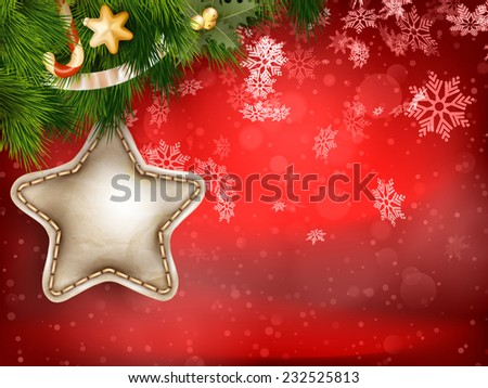 Christmas decoration with fir branches on red. EPS 10 vector file included - stock vector