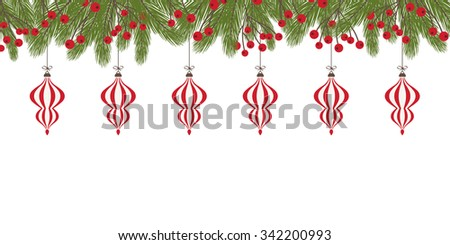 Christmas Decoration with Fir Twigs and Baubles - stock vector