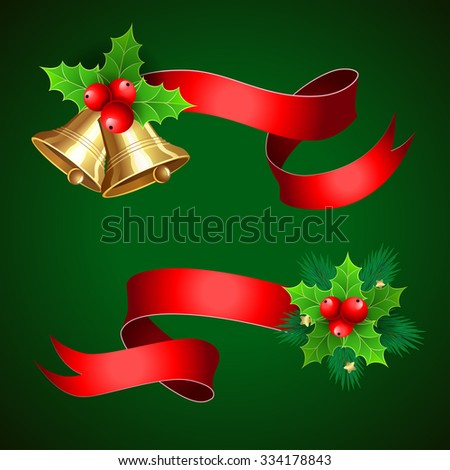 Christmas  decoration with red  ribbons. Set with christmas bells,  christmas tree branches, holly berry and christmas decor.  Isolated vector elements for christmas design - stock vector