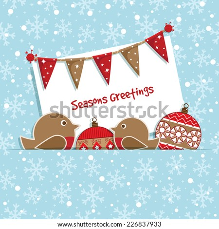 christmas decoration with snowflake background, bunting, card and ornaments - stock vector