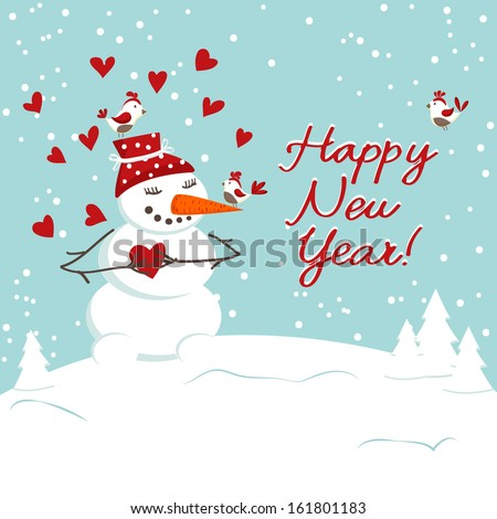 Christmas decoration with snowman. - stock vector
