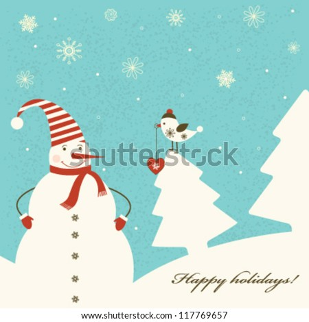 Christmas decoration with snowman on blue background. Vector - stock vector