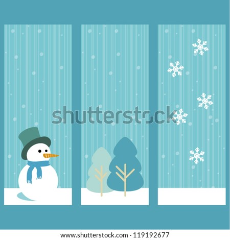 Christmas decorations banners with snowman, trees and snowflakes, seasonal greeting card, vector illustration - stock vector